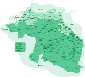 Carte des 111 communes Leader Montagne basque